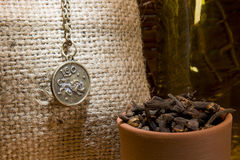 Clove spice and zodiac sign. On a background of burlap royalty free stock photography