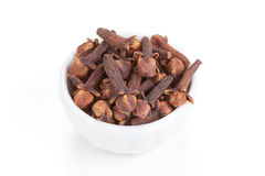 Clove in a white bowl on white background Royalty Free Stock Photos
