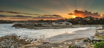 Clovelly beach. Sunset at clovelly beach sydney Stock Images