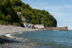 Clovelly, Devon, with beach in foreground Royalty Free Stock Images