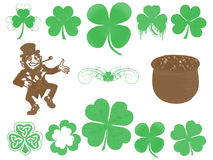 Clover. Elf, gold and clover on white background Stock Photo