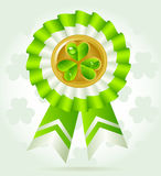 Clover award on St. PatricK`s Day with gold coin Royalty Free Stock Photography