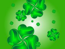 Clover background. Green abstract background with glass clovers Royalty Free Stock Photography
