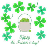 Clover background. With text Happy St. Patrick`s day and cauldron with money. Simple line design illustration Vector Illustration