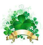 Clover with banner. Green clover with four leaves, with a gold banner on a white background Stock Images