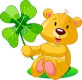 Clover bear. Cute bear holding clover. St. Patrick's Day illustration Stock Image