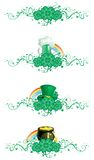 Clover borber. Vector  border of clover, pot with gold coins,  horseshoe, leprechaun hat, cup of green beer and ornate elements for St. Patricks Day Royalty Free Stock Photos