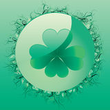 Clover button. Glass clover button for St. Patrick`s day,  illustration Royalty Free Stock Photos