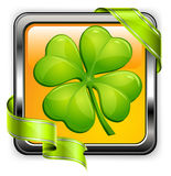 Clover button. Square clover button with green ribbon on white, vector illustration for St. Patrick's day Stock Photos