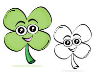 Clover cartoon sketch. Happy saint patrick´s day cartoon sketch with cute clover. The black and white version is useful for coloring book pages for children royalty free illustration