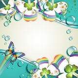 Clover with drops royalty free illustration