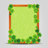 Clover on empty wooden frame. Royalty Free Stock Images