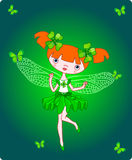 Clover fairy. Cute little fairy flying with butterflies. Vector Stock Image