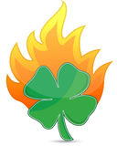 Clover on fire lucky concept illustration. Design on white Stock Photography