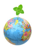 Clover with four leaflets in globe. Shamrock, the traditional Irish symbol coined by Saint Patrick for the Holy Trinity, is commonly associated with clover Stock Image