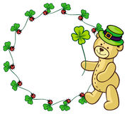 Clover frame and cute teddy bear in green hat.  Raster clip art. Stock Images