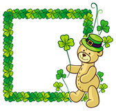 Clover frame and cute teddy bear in green hat.  Raster clip art. Royalty Free Stock Image