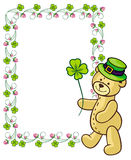 Clover frame and cute teddy bear in green hat.  Raster clip art. Stock Photos