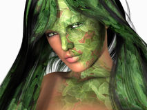 Clover girl. High resolution 3d render, portrait of woman with clover fave paint Royalty Free Stock Photo