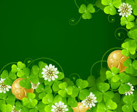 Clover glade and golden coins. Patrick's Day background: Clover glade and golden coins Stock Photo
