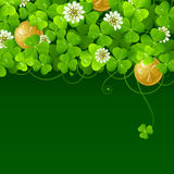 Clover glade and golden coins 4. Patrick's Day background: Clover glade and golden coins Stock Photography
