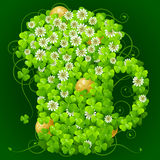 Clover glade in the shape of beer mug. Vector clover glade in the shape of beer mug Stock Photo