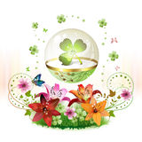 Clover in glass globe Stock Photo
