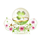 Clover in glass globe Stock Images