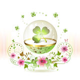 Clover in glass globe Royalty Free Stock Photos