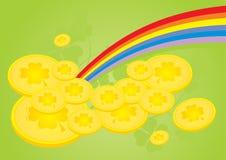 Clover golden coins Stock Photos