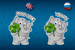 Clover for good luck, the elephant holds. Big set of stickers in English and Russian languages. Vector, cartoon Stock Photos