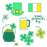 Clover, hat, beer and cauldron with gold, St. Patrick`s day set. Of patches. Happy St. Patrick`s day stickers Vector Illustration