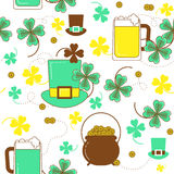 Clover, hat, beer and cauldron with gold St. Patrick`s pattern. Clover, hat, beer and cauldron with gold. St. Patrick`s day colorful seamless pattern Royalty Free Illustration