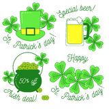 Clover, hat, beer and cauldron,St. Patrick`s day set. Clover, hat, beer and cauldron with gold, St. Patrick`s day set of icons. Happy St. Patrick`s day and Stock Illustration