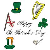 Clover hat flag arch pipe hand drawn with lettering St. Patrick day. Object isolated on white Stock Image