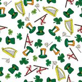 Clover hat flag arch pipe hand drawn St. Patrick day. Clover hat flag arch pipe hand drawn pattern St. Patrick day. Seamless Stock Photography