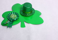 Clover & a hat for St Patricks Day. An image showing the concept of St Patricks Day with Clover shapes & a green hat Royalty Free Stock Photography