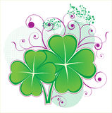 Clover icon. Four leafs clover icon with floral elements Royalty Free Stock Images