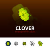Clover icon in different style Royalty Free Stock Photos