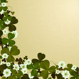 Clover leaf border. Corner, border design with clover leaves, Patrick's Day card Stock Photos