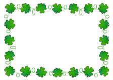 Clover Leaf Border. Digitally created four leaf clovers border this image with room for copy in the center Royalty Free Stock Photo