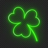 Neon leaf clover. A clover leaf on a dark background with a neon light effect for a festive decoration for St. Patrick`s day. Vector illustration with the symbol vector illustration