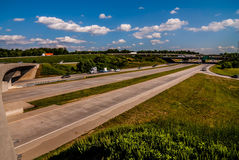 Clover leaf exit ramps on highway Stock Photo