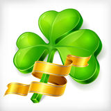Clover leaf & gold ribbon Stock Photo