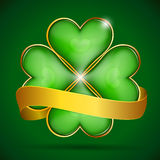 Clover leaf & gold ribbon Stock Images