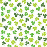 Clover leaf hand drawn doodle seamless pattern vector illustration. St Patricks Day symbol, Irish lucky shamrock background.  Stock Images