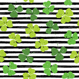 Clover leaf hand drawn doodle seamless pattern vector illustration. St Patricks Day symbol, Irish lucky shamrock background.  Stock Image