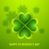 Clover leaf for Happy St. Patricks Day celebration. Stock Photos