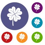 Clover leaf icons set. In flat circle red, blue and green color for web Royalty Free Illustration