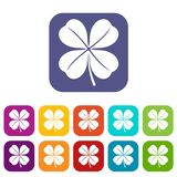 Clover leaf icons set. Vector illustration in flat style in colors red, blue, green, and other Stock Illustration